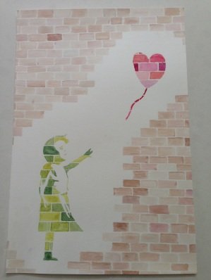I took a Banksy work and rendered it in watercolor how I thought it would look on brick